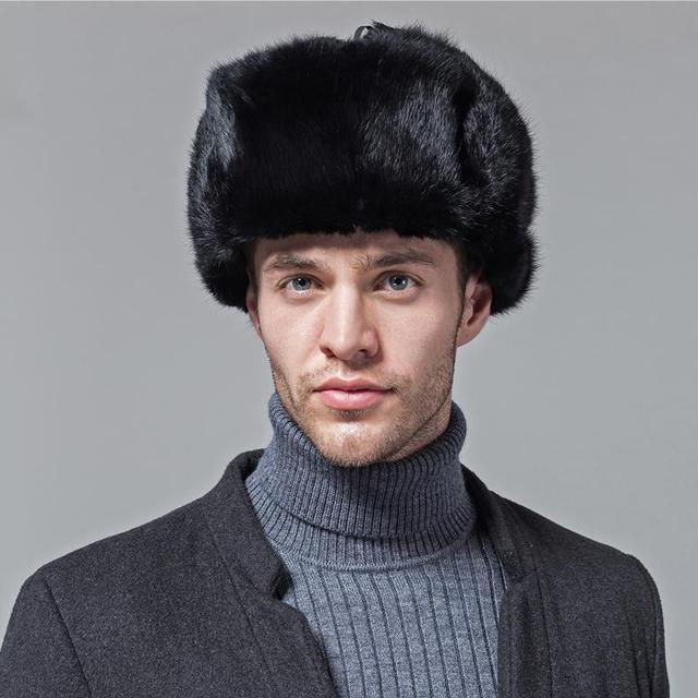 natural black real rabbit fur hat men winter fur cap genuine women s Bomber Hats  Russia style 6b5c9220ec4