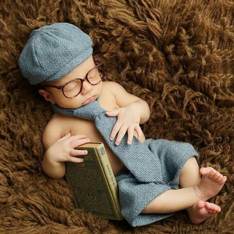 Newborn Baby Photography Props Baby Boy Shorts+Hat+Long Tie+Glasses Gentleman Set Costume Clothing Shoot Baby Photo Prop