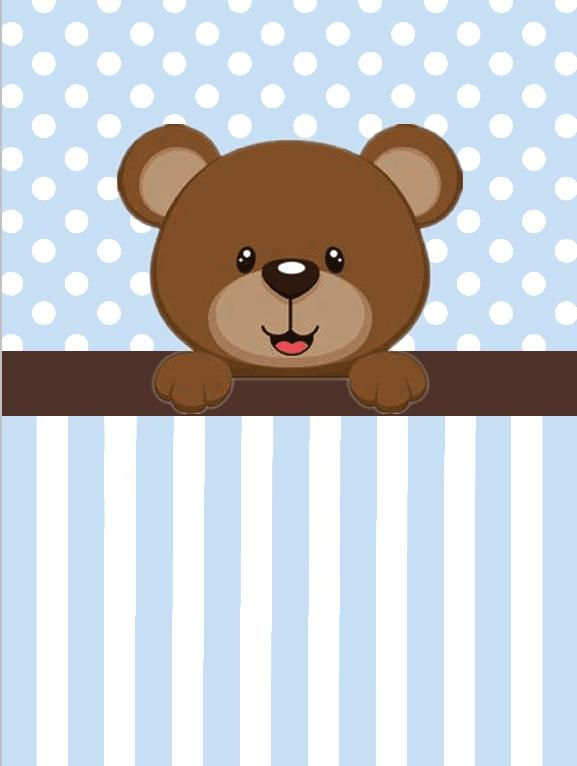 5x7ft Light Blue Stripes Polka Dots Brown Bear Boy Baby