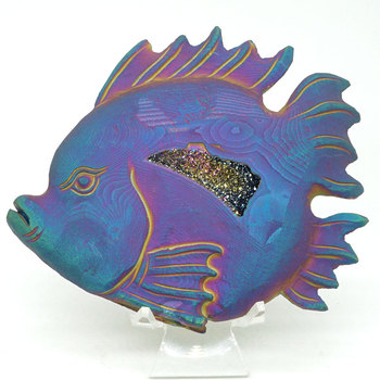 """5.1""""plated Geode Agate Fish Figurine Carved Animal Statue Office Home Decor Healing Crystal"""