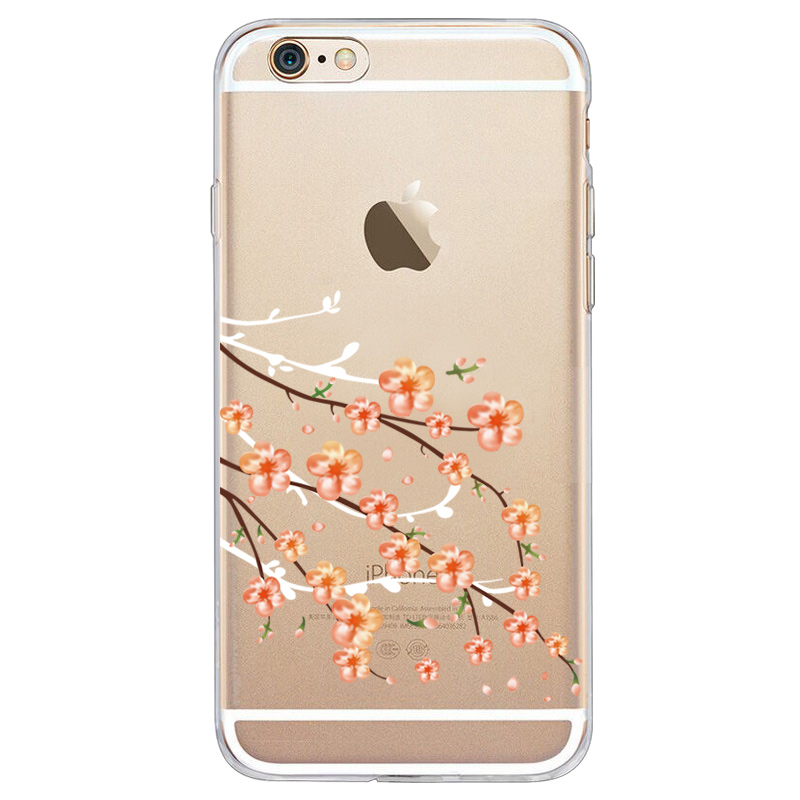 Sakura series painted transparent soft shell For iphone6 7 8 x xr xsmax mobile phone shell silicone soft shell cover in Half wrapped Cases from Cellphones Telecommunications