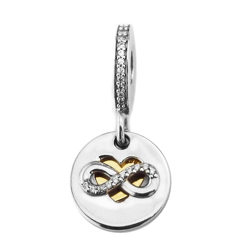 Perles CKK 100% 925 argent Sterling coeur de l'infini Dangle charmes convient Pandora Bracelet perles pour la fabrication de bijoux kralen perles