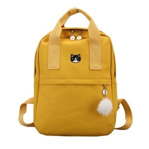 Image 1 - New Cute Canvas Backpack Fashion Women Backpack For School Teenagers Girls Big Capacity Yellow Travel Bag Female Bookbag Mochila