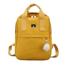 Novo bonito lona mochila moda feminina mochila para a escola adolescentes meninas grande capacidade amarelo saco de viagem feminino bookbag