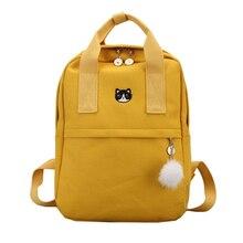 Yeni sevimli keten sırt çantası moda kadın okul sırt çantası gençler kızlar için büyük kapasiteli sarı seyahat çantası kadın Bookbag Mochila