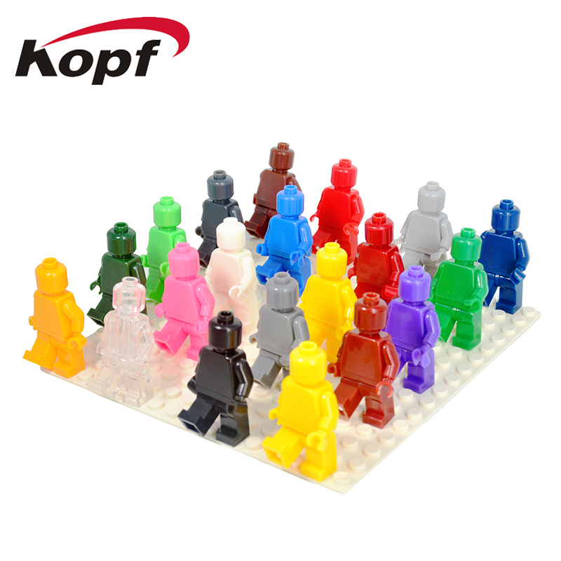 KF1050 Building Blocks Limited Supplies Blank Unprinted Pure Plain Solid Color Packed in Sealed Opp Bag MOC Custom Bricks Toys