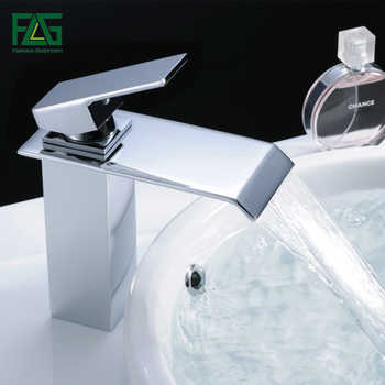 FLG Waterfall Basin faucets Single Handle Hot and Cold Water Bathroom faucet Deck Mounted Chrome Brass Sink Tap 770-11C - DISCOUNT ITEM  45% OFF All Category