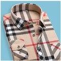 ERRANCE 2017 Camisa A Cuadros de calidad Superior nueva moda de los hombres camisa delgada de Los Hombres aptos masculina Camisas de vestir