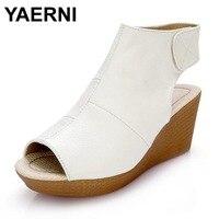 YAERNI Women Gladiator Sandals Wedges Heel Platform Peep Toe Summer Style Shoes For Woman