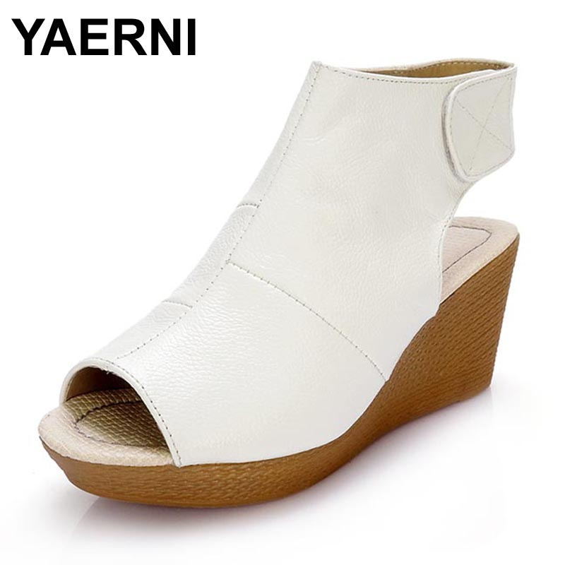 YAERNI Women Gladiator Sandals Wedges Heel Platform Peep-toe Summer Style Shoes For Woman summer shoes woman platform sandals women soft leather casual open toe gladiator wedges women nurse shoes zapatos mujer size 8