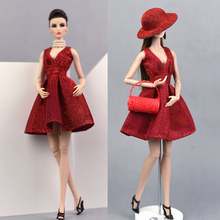 Dress + bag + shoes + hat / Red Bling Dress Evening Gown Clothing Outfit Accessories For Baby Toy Xinyi Kurhn Barbie Doll(China)