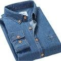 2016 Otoño Nuevos Hombres Camisas Casuales 100% de Algodón de Alta Calidad Botón del cuello de Manga Larga Slim Fit Hombres Camisa Vaquera Con bolsillo