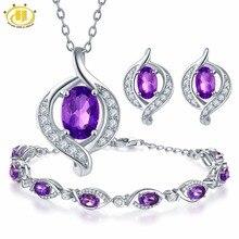 Hutang Pendant & Earrings & Bracelet Natural Gemstone Amethy