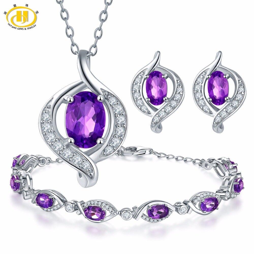 Hutang pendentif & boucles d'oreilles & Bracelet pierres précieuses naturelles améthyste solide 925 en argent Sterling ensembles de bijoux fins pour cadeau pour les femmes