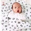 KAMIMI 2017 Recién Nacido Bebé Toalla de Algodón Letras Patrones Geométricos Bebé Toallas de Baño Toallas de Fibra De Bambú Del Bebé Bebé Recién Nacido Wrap I008