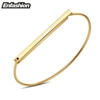 Enfashion Personalized Custom Engrave Name Flat Bar Cuff Bracelet Gold Bangle Bracelet For Women Bracelets Bangles