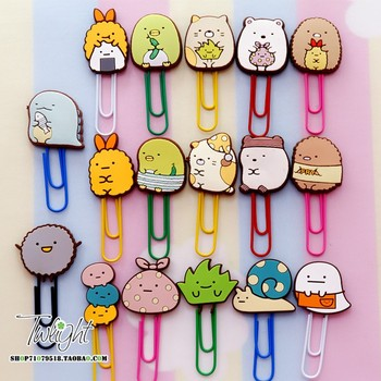 1 unidad de dibujos animados sumikko gurashi gato oso Clip esquina creativa Bio muñeca de dibujos animados para niños Clip de papel marcador accesorios de oficina