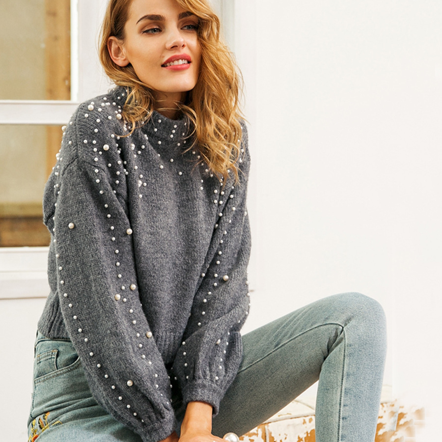 2018 perles pull femmes manches bouffantes col rond pull Poncho tricoté Blouse automne hiver Ol Pullovers nouvelle tête perlée