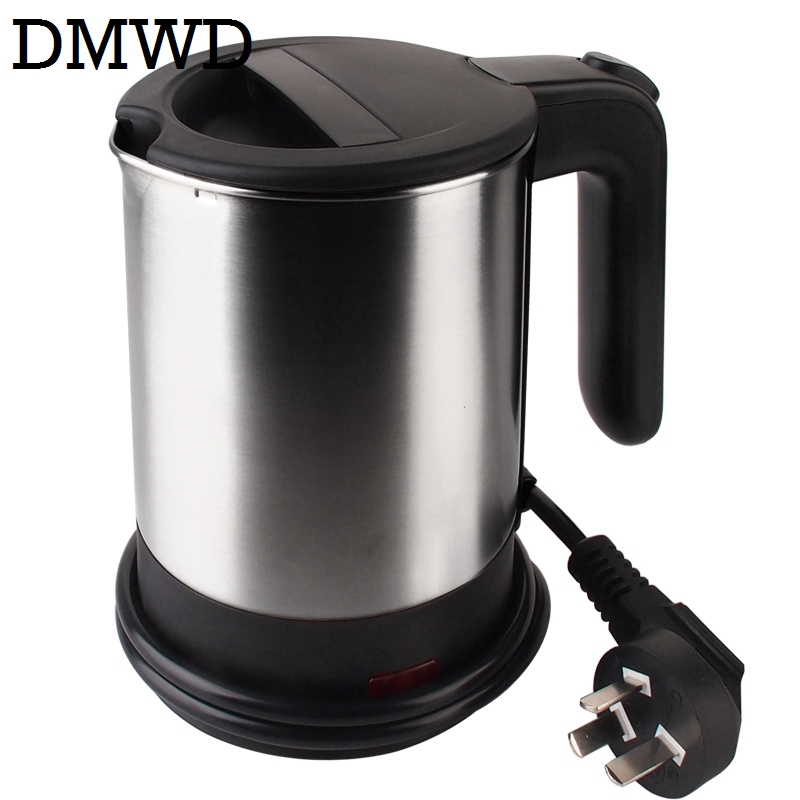DMWD Dual Voltage Travel water Heating Kettle MINI Electric kettle cup heater Portable stainless steel tea pot boiler 110V-220V 220v 600w 1 2l portable multi cooker mini electric hot pot stainless steel inner electric cooker with steam lattice for students
