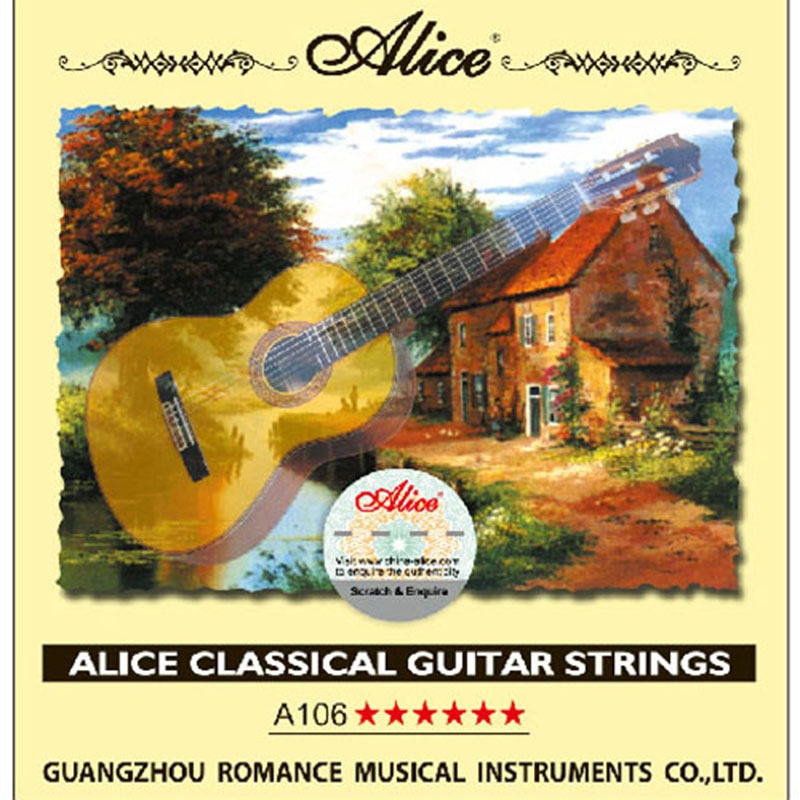 1 Set Original Alice Classical Guitar Strings Clear Nylon Silver-Plated Copper Alloy Wound A106 classical guitar strings set cgn10 classic nylon silver plated normal tension 028 045 classical guitar strings 6strings set