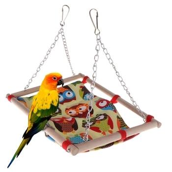 Pet Bird Hammock Swing Toys Owl Wood Hanging Cage Parrot Birds Hamster Budgie Parakeet Bed Bird Chewing Toy
