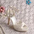 Wedopus New Design Beige Sandals High Heels Bridal Shoes Summer Size 7