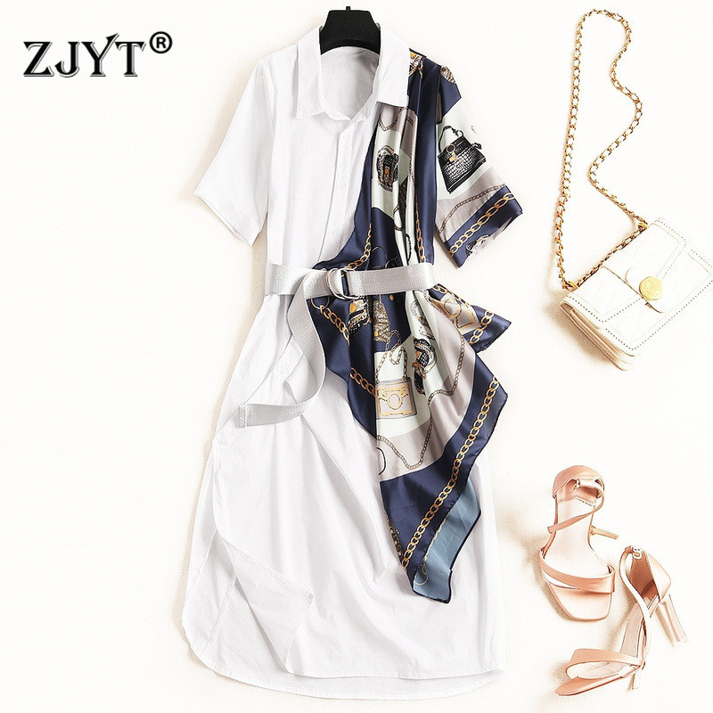 New Fashion Designer Summer Dress Women 2019 Elegant Turn Down Collar Chains Print Patchwork Casual Loose