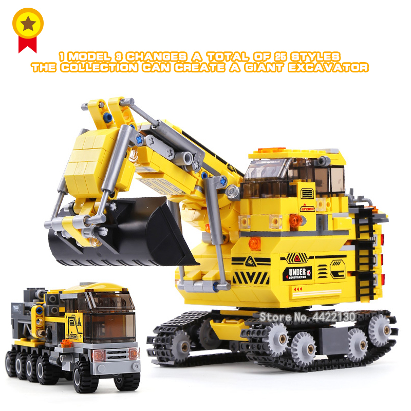 The engineering team dispatched a large excavator 8 in 1 25 engineering modeling blocks Compatible legoinglys city toy gift 196pcs building blocks urban engineering team excavator modeling design