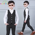 New Children Formal Suit Baby Boys Kids Prince Handsome Gentleman Striped Vest Pants Shirt For Weddings Party Clothes Set B007