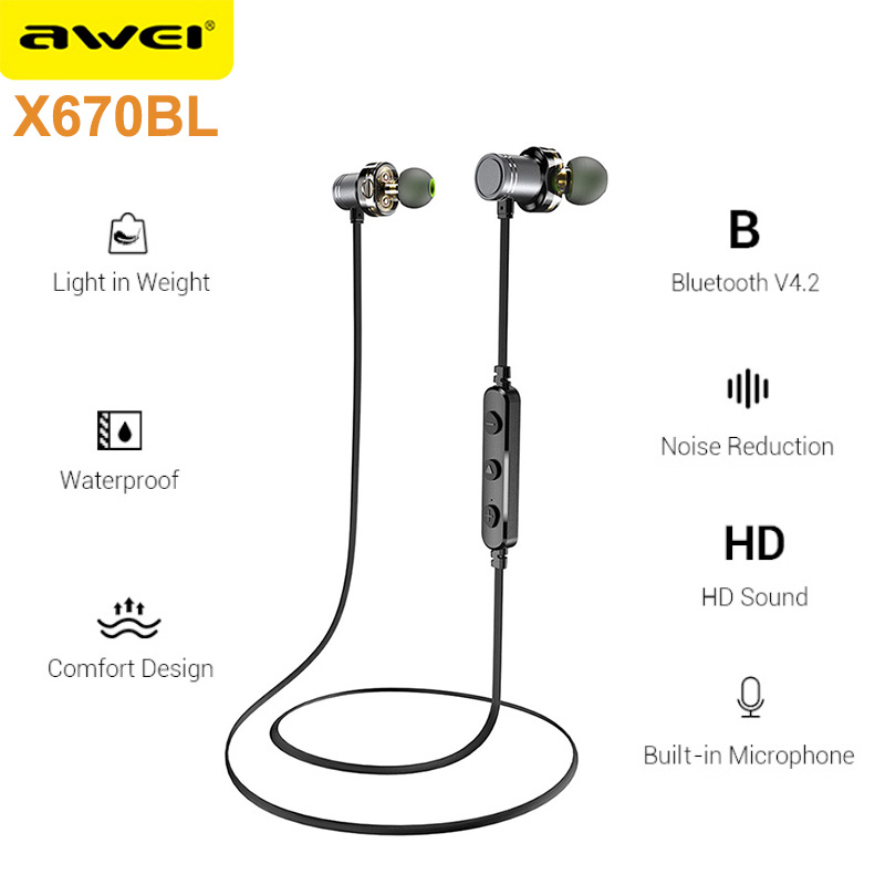 AWEI X670BL Bluetooth Headset Dual Driver Wireless