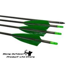 """12 Uds Flecha de carbono 30 """"columna vertebral 300, 340 de 400 ID6.2mm 4"""" Pluma de pavo real grano 100 campo Puntos caza con arco envío gratis"""