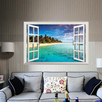 Online Shop 3D Wall Art Beach Scene Modern Home Decal Wall Sticker ...