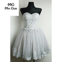 2018 Fashion Grey Homecoming Dress Short Cocktail Party Dress With Appliques Beaded Ball Gown Short Homecoming