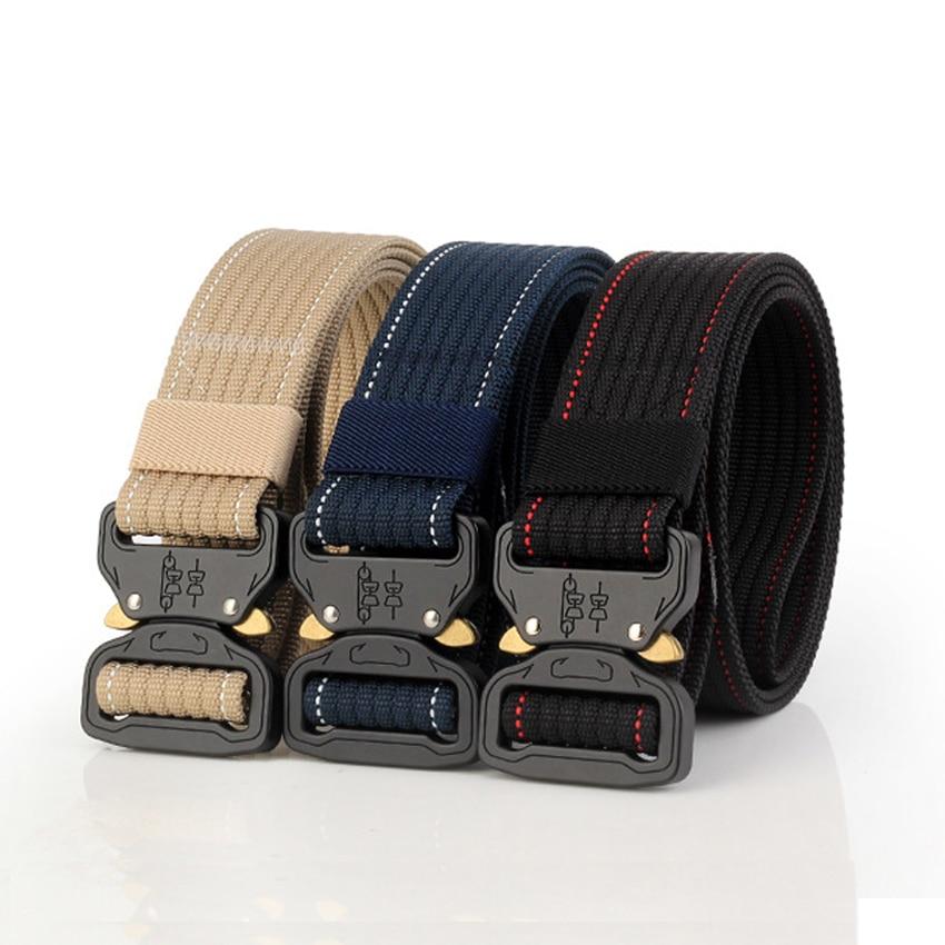 7979bd9a0a 10 colores de equipo militar sólido cinturón táctico cinturones para  pantalones vaqueros pantalones de correa de Nylon lona hebilla de Metal.