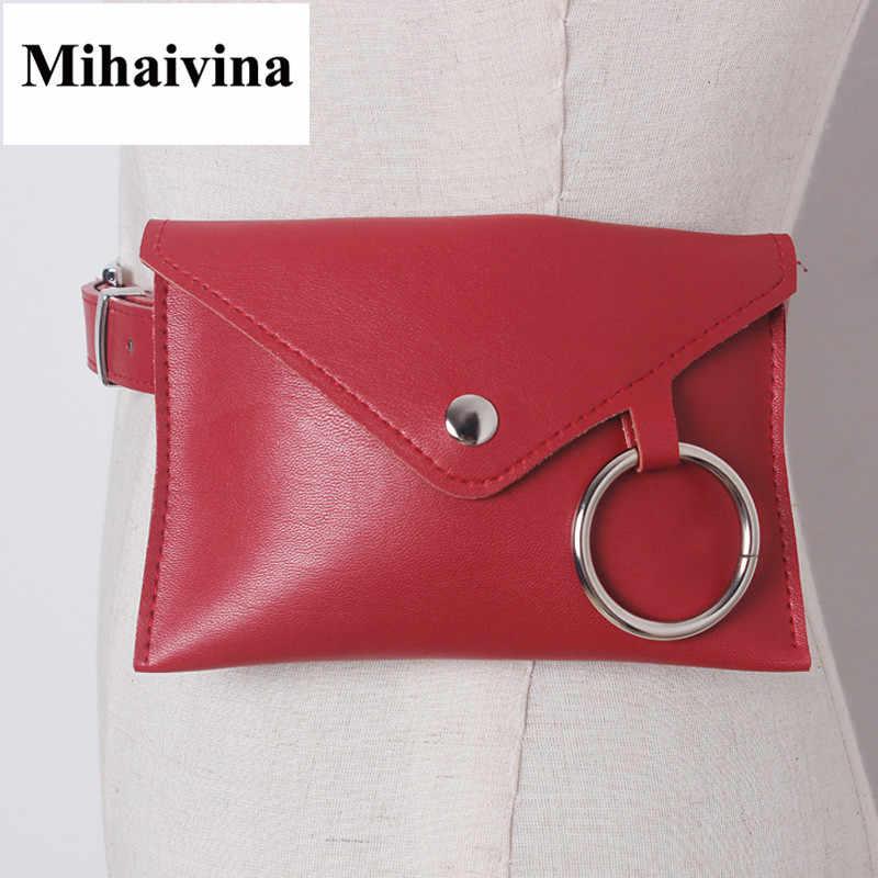 Mihaivina ファッション新しい女性ウエストパック人間サンドバッグベルトバッグ電話ポーチバッグ女性ウエストバッグ毛皮ファニーパックでをベルト Bolosa