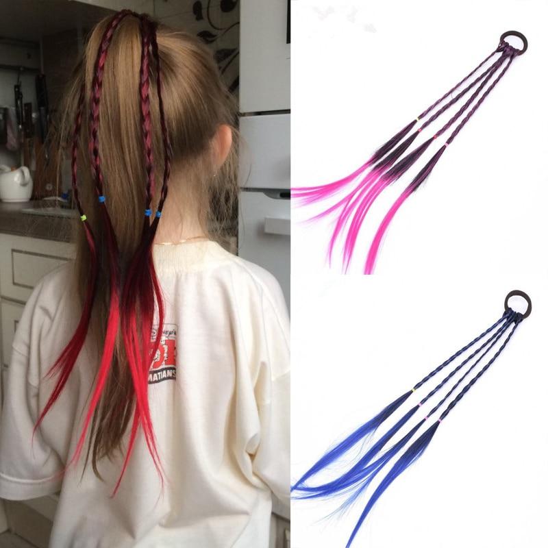 New Girls Elastic Hair Band Rubber Band Hair Accessories Wig Ponytail Headband Kids Twist Braid Rope Headdress Hair Braider