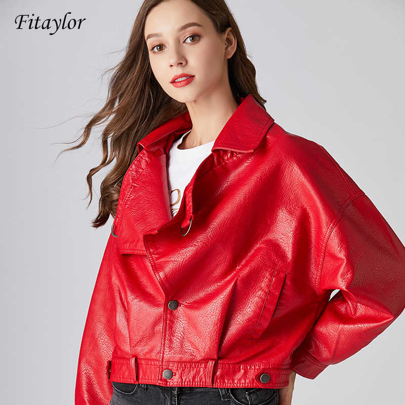 Fitaylor 2019 Women Faux Leather Jacket Retro Batwing Sleeve Coat Short Zipper Motor PU Red Jacket Spring Street Leather Coat