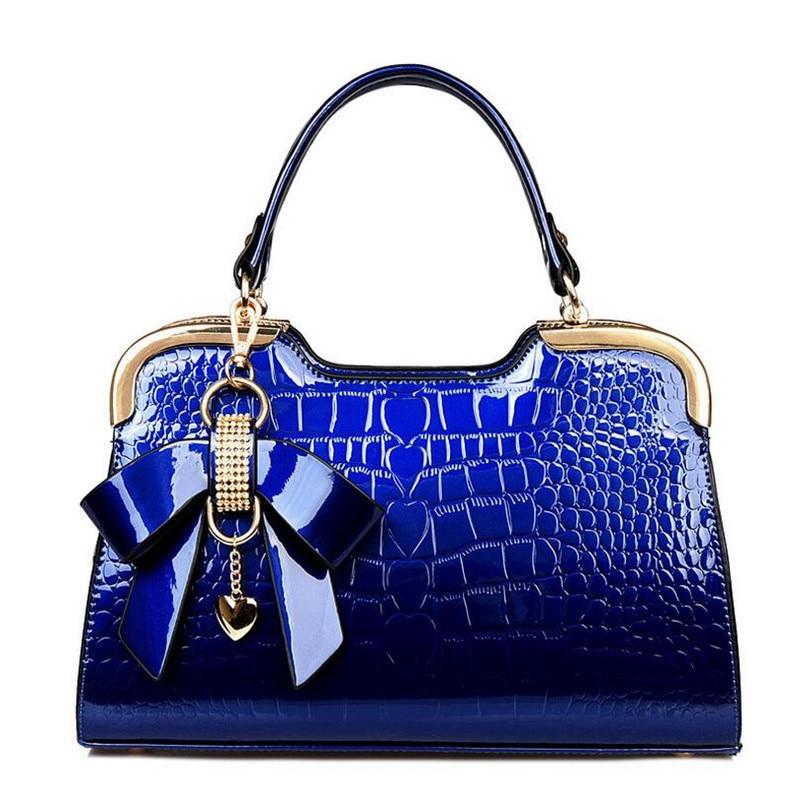 Flyone Fashion Handbag Top quality Bow Patent Leather Shoulder Bag Bolsa Elegant Crocodile Woman Handbag Feminina Bags FY0194 ranhuang women alligator handbag high quality luxury patent leather shoulder bag fashion message bags blue bolsa feminina a166