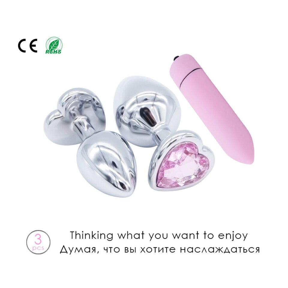 Sissy Triple Pack - Crystal Heart Butt Plug  Dildo Vibrator-6529
