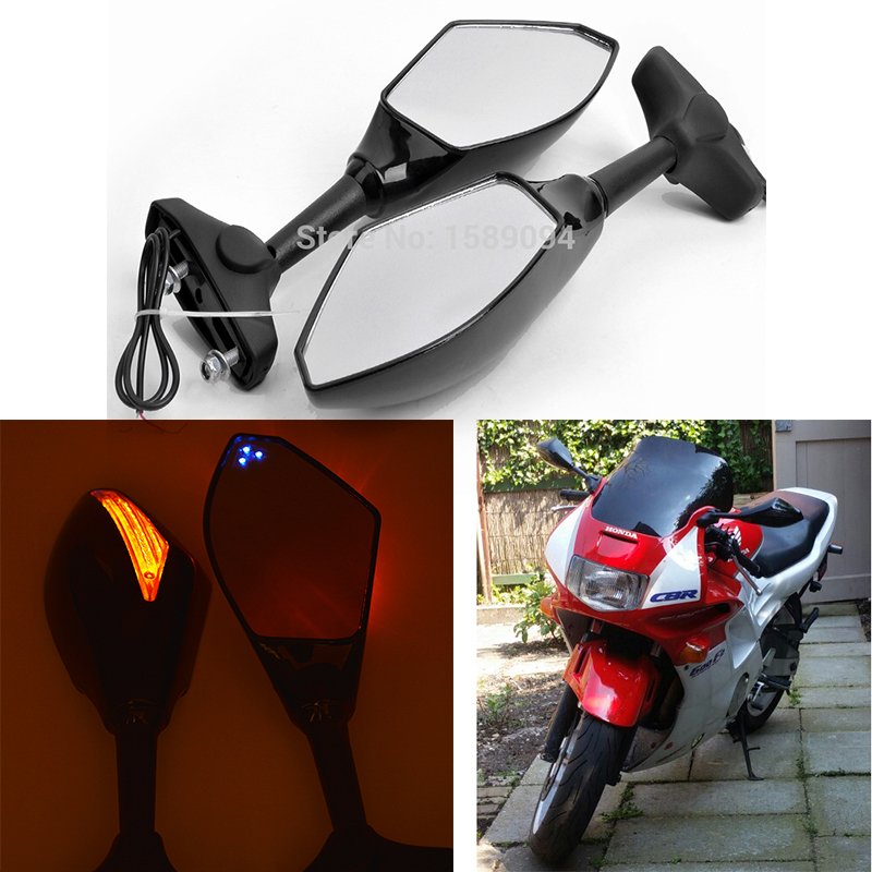 Motorcycle Rearview Mirrors LED Turn Signal For Honda CBR 600 F1 F2 F3 F4 F4i US