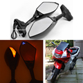 Motorcycle Rearview Mirrors with Amber LED Turn Signal Handle Bar End Side Mirror For Honda CBR 600 F4i F1 F2 F3 F4 929 954RR