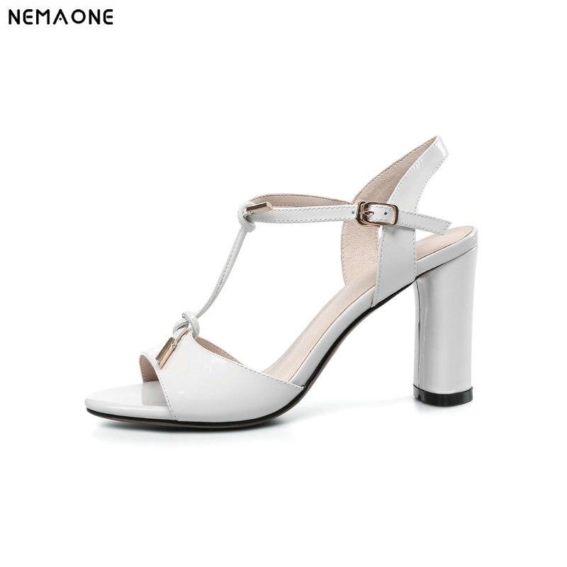 NEMAONE Для женщин босоножки из натуральной кожи модные женские туфли на высоком Сандалии на каблуке для девочек обувь с Т-образным ремешком же...