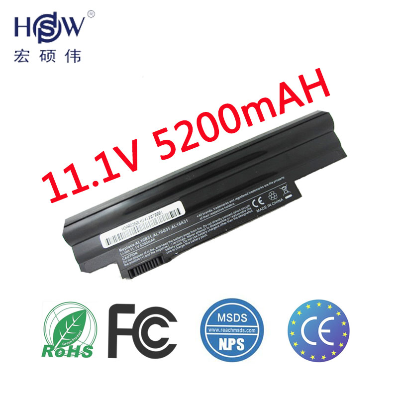 HSW Batterie d'ordinateur portable Pour ACER Aspire ONE happy 522 722 D255 D255E D257 D260 D270 E100 AL10B31 AL10A31 AL10G31 portable bateria
