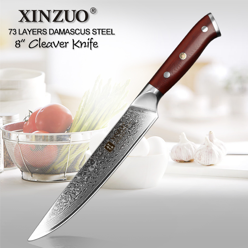 Sunlong Meat Cleaver 7 inch Chinese Vegetable Cleaver Japanese VG10 Damascus Steel Natural Rosewood Handle