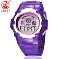 NEW OHSEN Boys Girls Children Kids 7 Colors LED Back Light Digital Multifunction Military Sports Watches