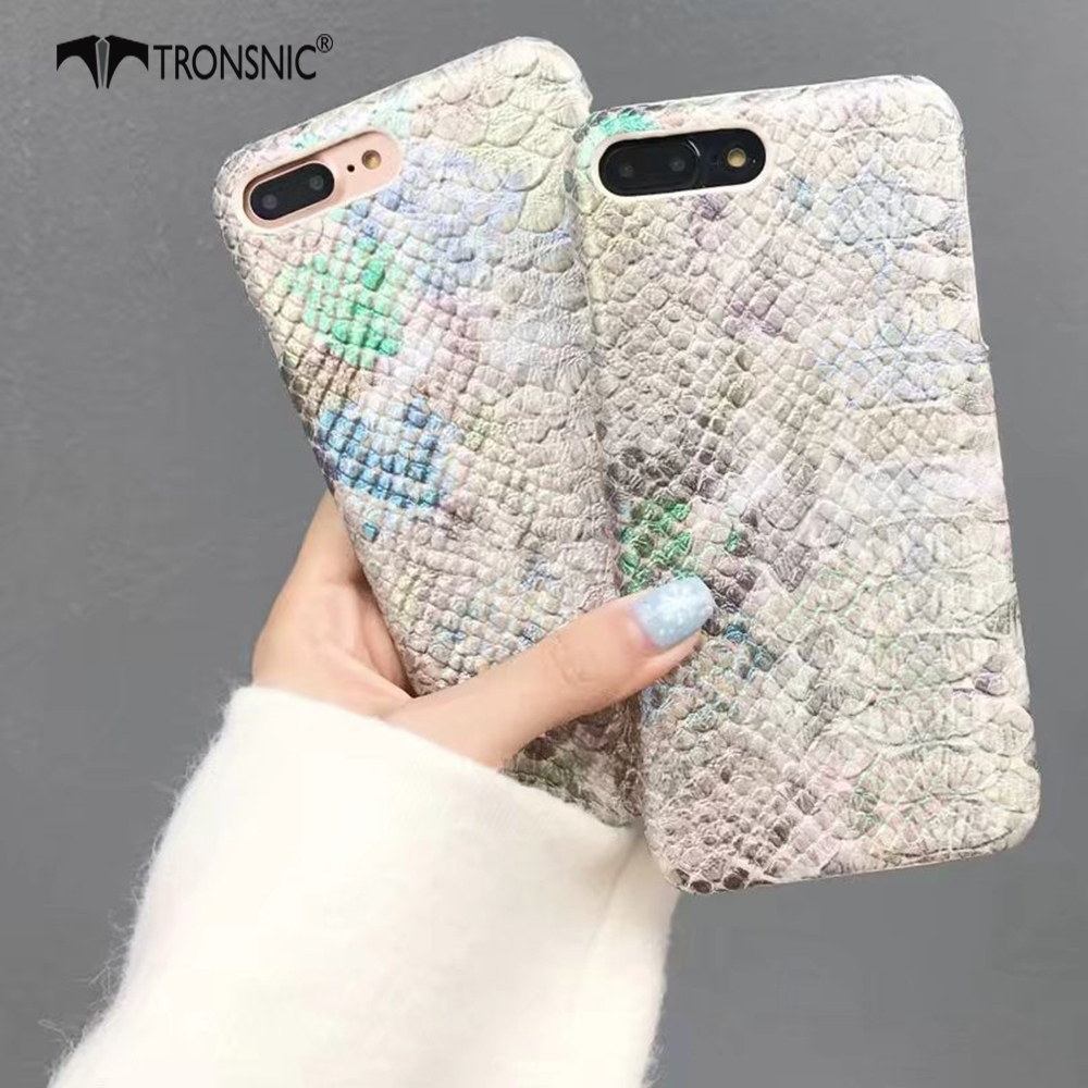 Tronsnic Luxury Phone Case for iPhone X Crocodile Snake Pattern Hard Cases for iPhone 6 6S 7 8 Plus Laser PU Leather Covers Capa