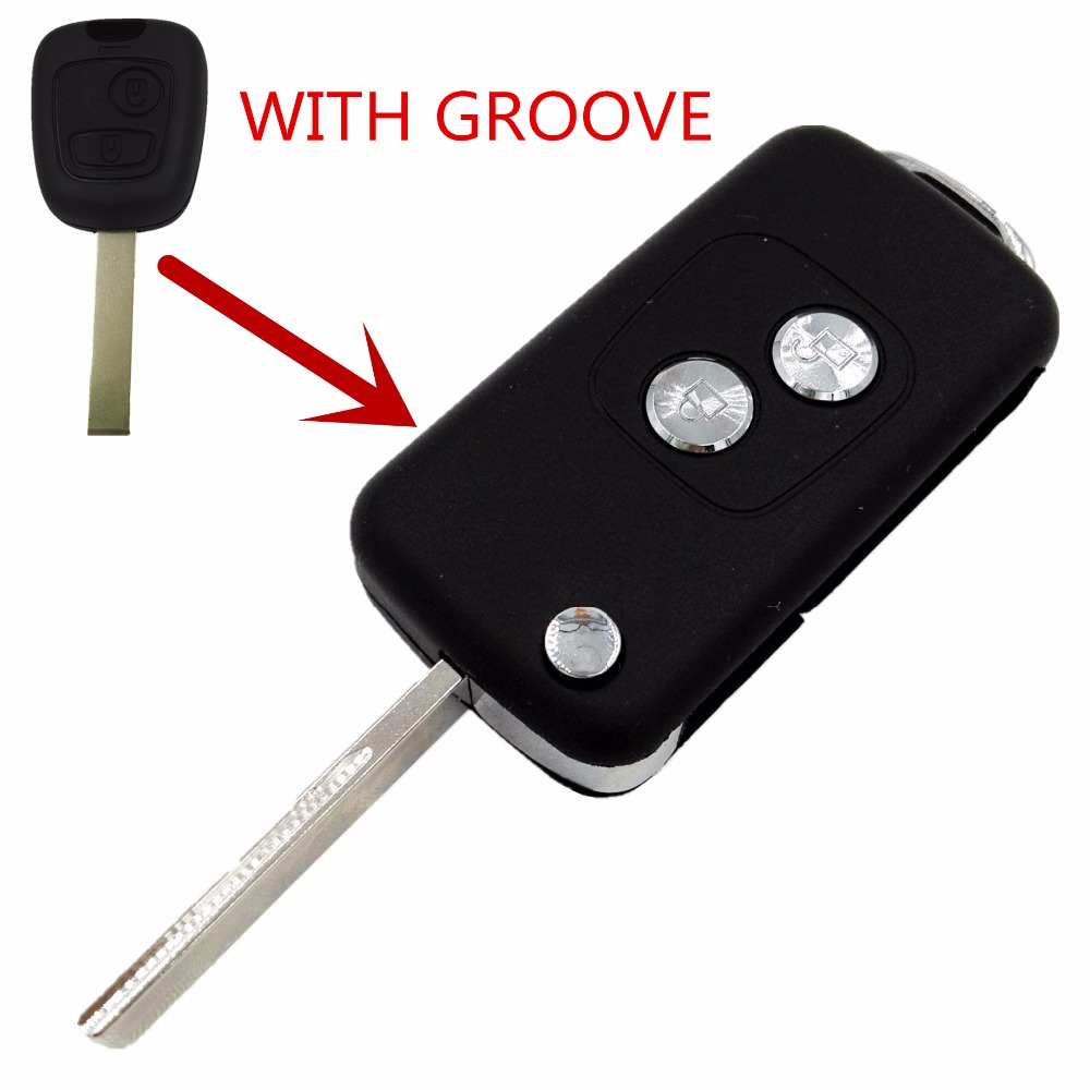 Replacement Modified 2 Buttons Folding Key Blank Remote Case Fob Peugeot 307 407 Groove side Blade Flip Shell - CAR KEY FACTORY store