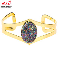 2016 Indian Bangles Rainbow Oval Natural Druzy Quartz H Women Bracelet Gold Plated Cuff Wholesale Geode