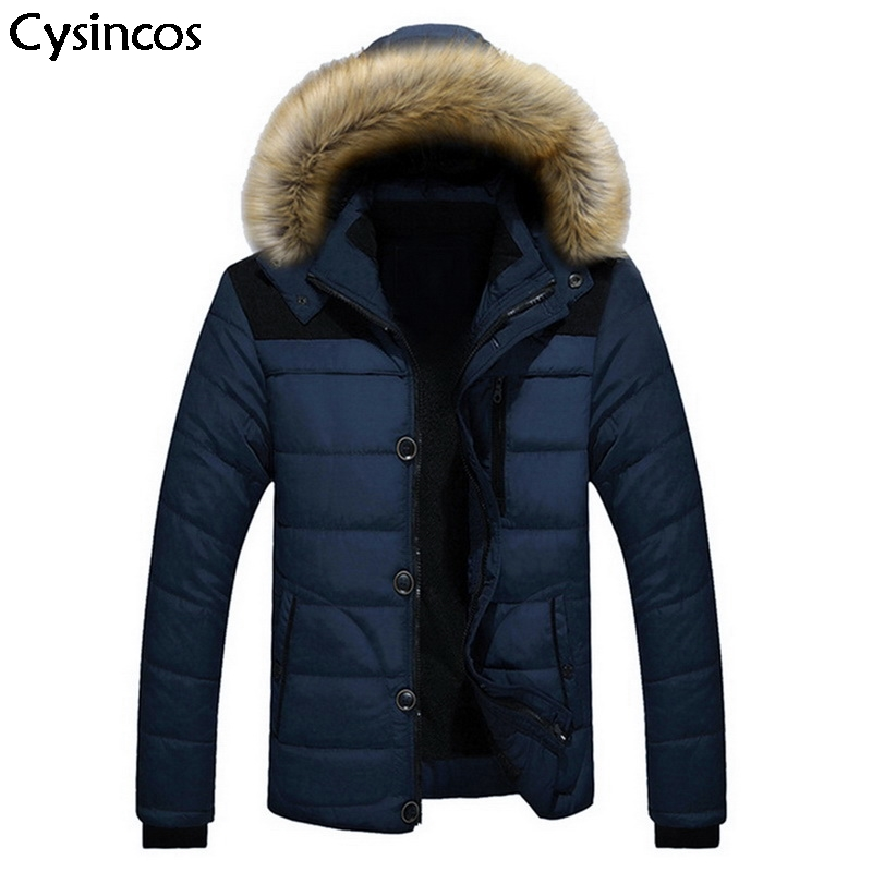 Cysincos New 2019 Fashion Men Winter Hoodies Jacket Coat Down Keep Warm Zipper Pocket Plus Size Outerwear Windproof Thick   Parkas