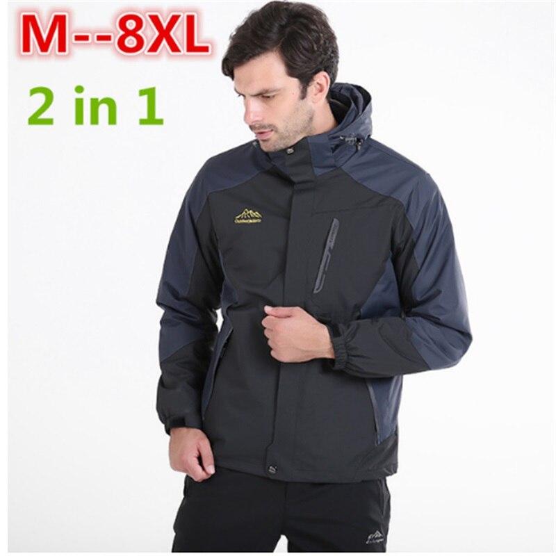 Плюс Размеры 10xl 8xl 6xl 5xl Водонепроницаемый зимняя куртка Для мужчин теплый 2 в 1 парки ветрозащитный съемный капюшон зимнее пальто большой бол...